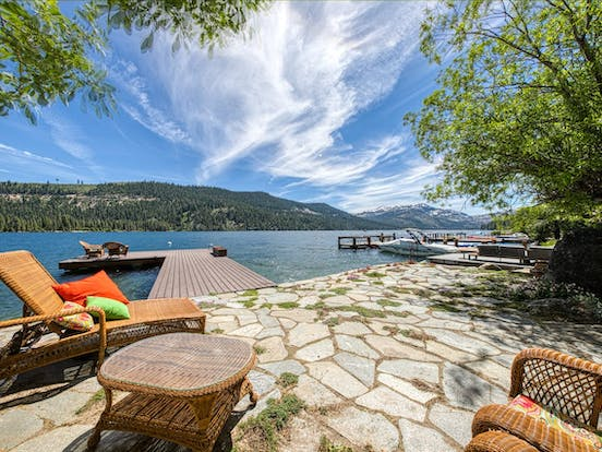 Dock and back patio of lakefront Truckee, CA vacation rental