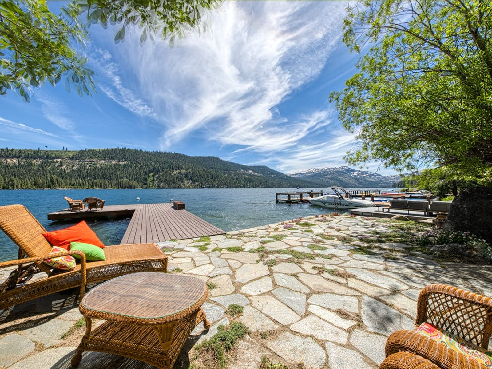 Lake Tahoe waterfront vacation rental back patio and dock