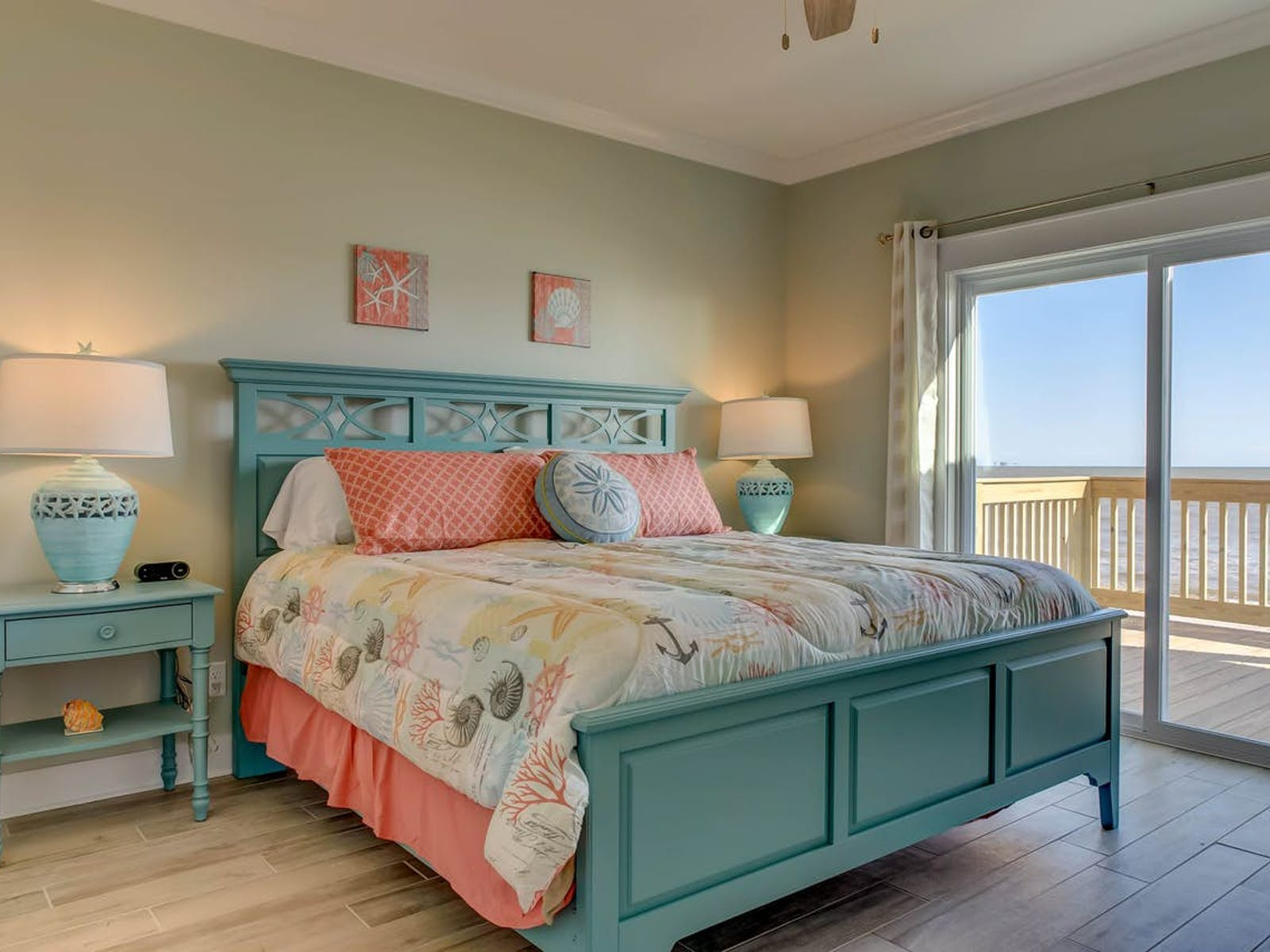 vacation rental bedroom decorated in ocean hues located in dauphin island, al