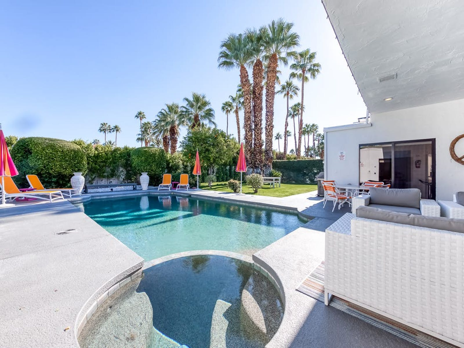 outdoor pool at a Palm Springs, CA vacation rental