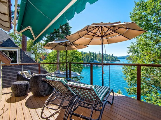 Holiday vacation rental deck overlooking the water in Lake Arrowhead, CA