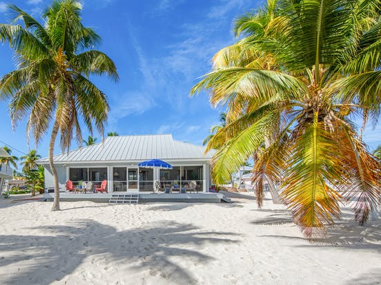 beach bungalow surrounded by palm trees in islamorada, fl
