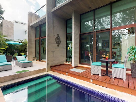 Vacation rental outdoor pool and patio in Tulum