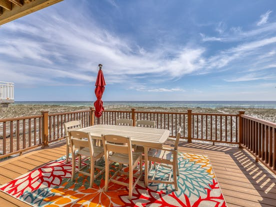 deck of oceanfront vacation rental in Navarre Beach, FL