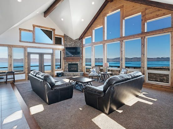 large open living space with fireplace in Fish Haven, ID beach home