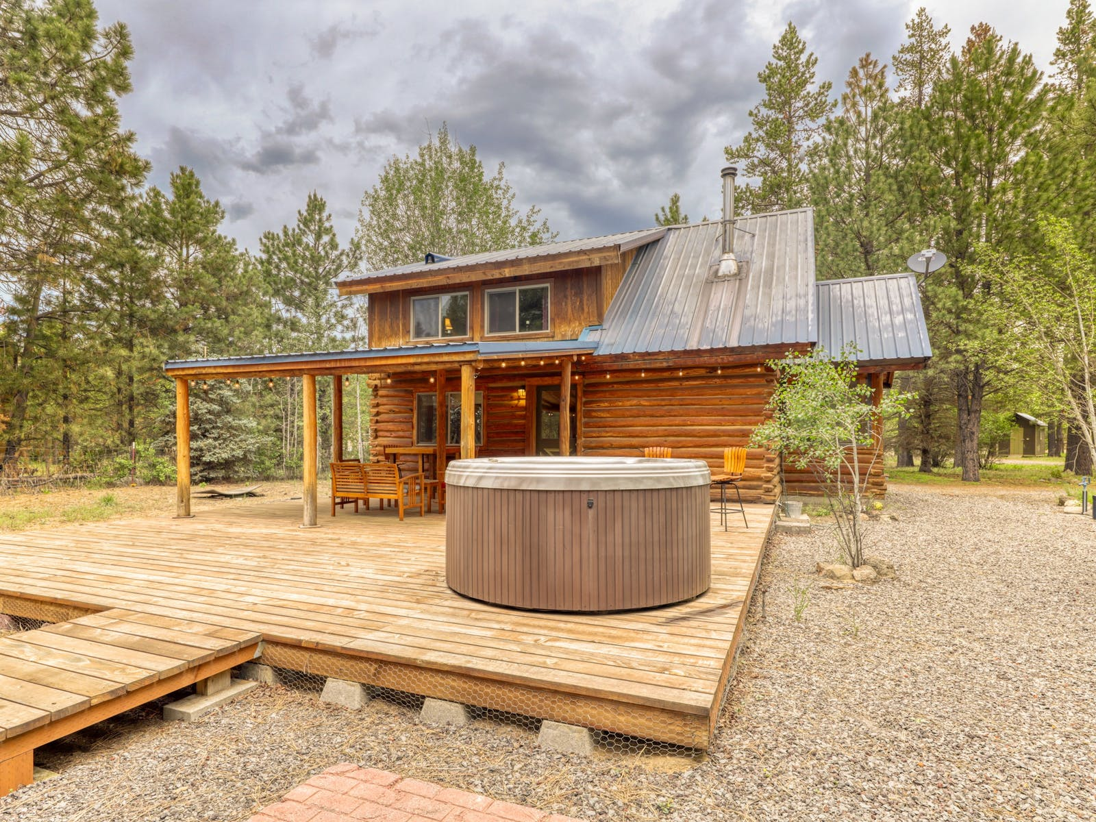 log cabin rental in sunriver with hot tub