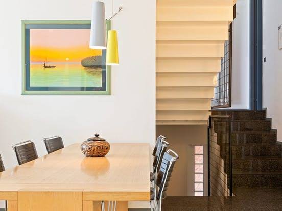 Vacation rental dining area and stairs