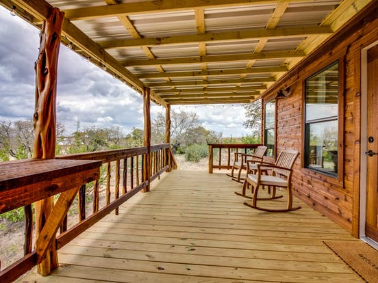 Vacation rental porch in Fredericksburg, TX