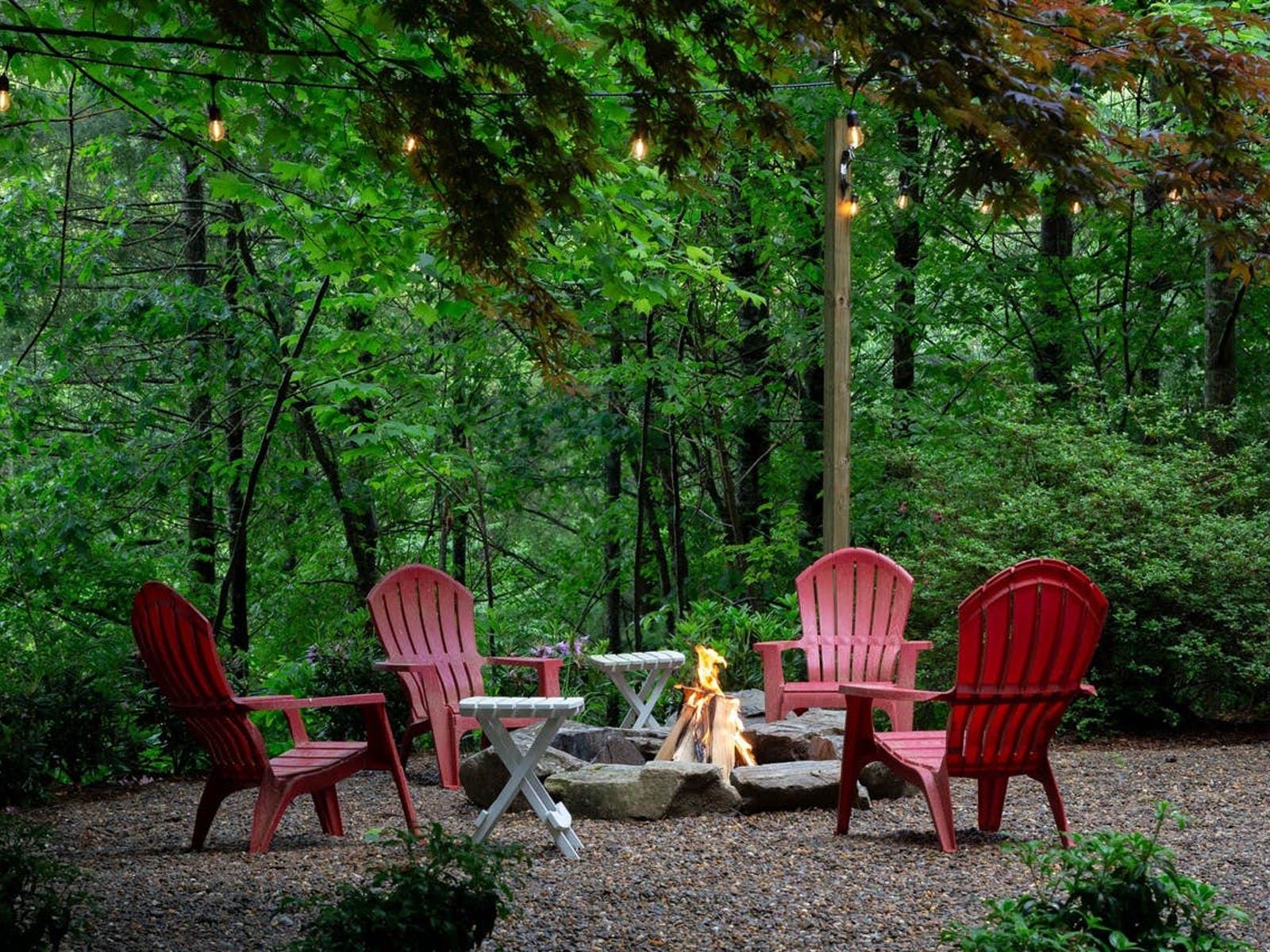 outdoor firepit in yard of vacation rental in Bryson City, NC