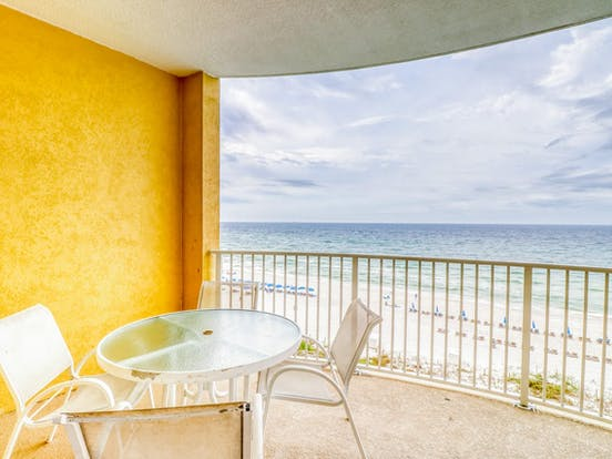 Vacation rental balcony with views of the beach
