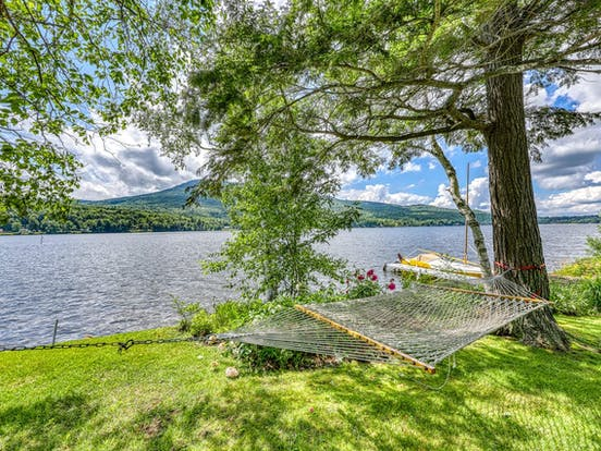 Lake Elmore, VT with boat and hammock