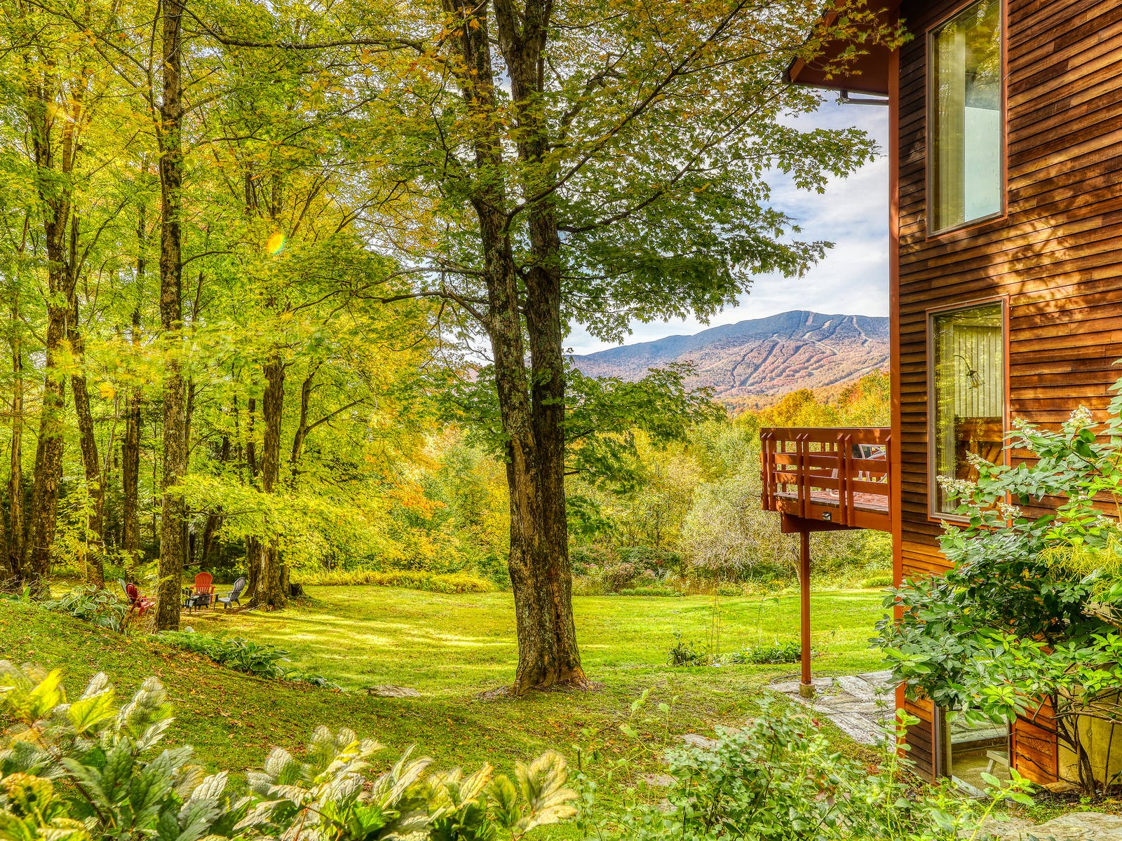 a cabin in Vermont in the fall