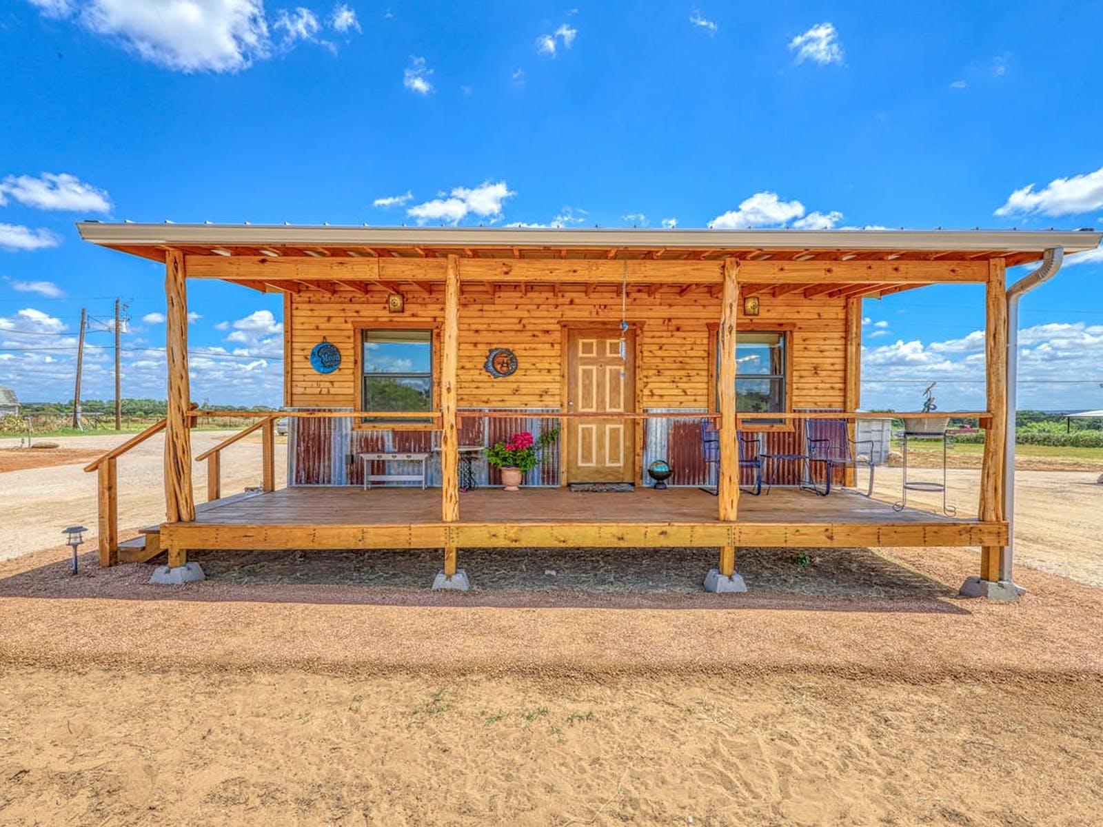 Vacation rental front porch in Fredericksburg, TX