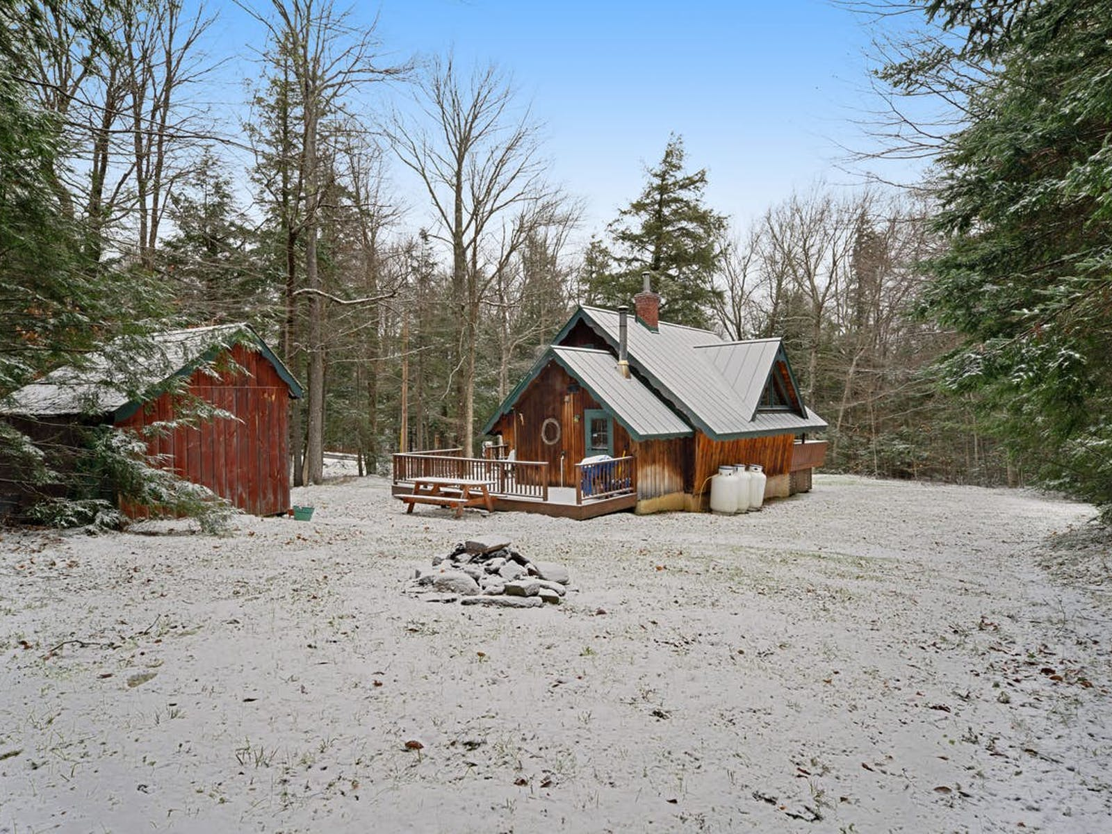 Vermont vacation cabin surrounded by trees and snow