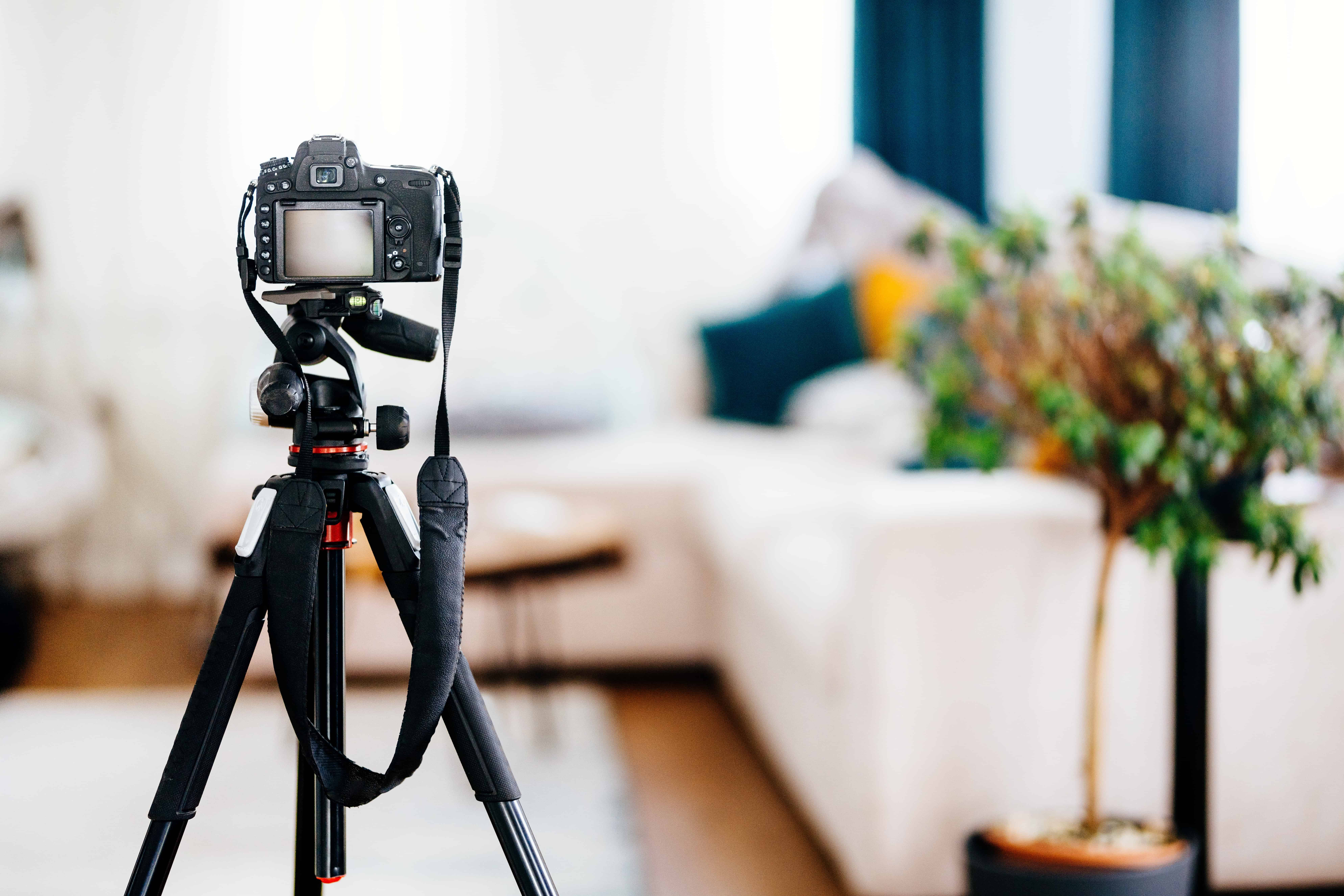 a camera set up to take pictures of a vacation rental's living room