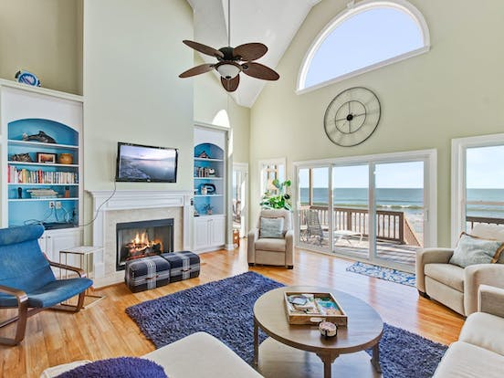 Folly Beach, SC beach house with fireplace, tall ceilings and lovely ocean views