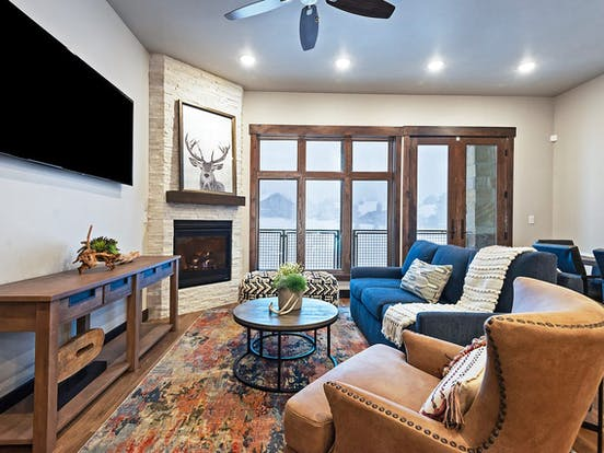 white stone fireplace inside of Park City, UT vacation rental