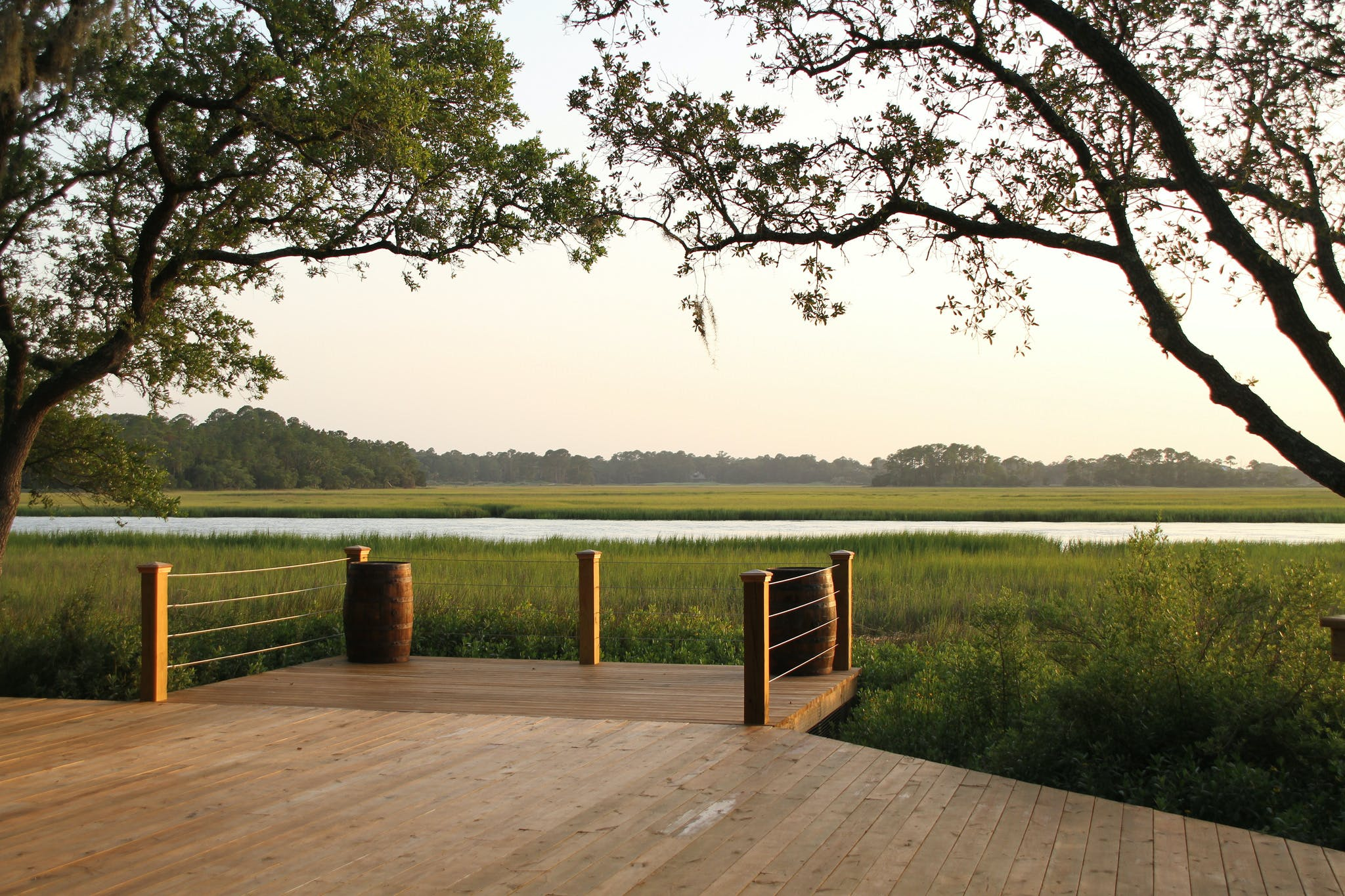 an overlook extending over a marsh on kiawah island