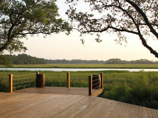 an overlook extending over a marsh on kiawah island