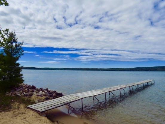 dock over Lake Michigan