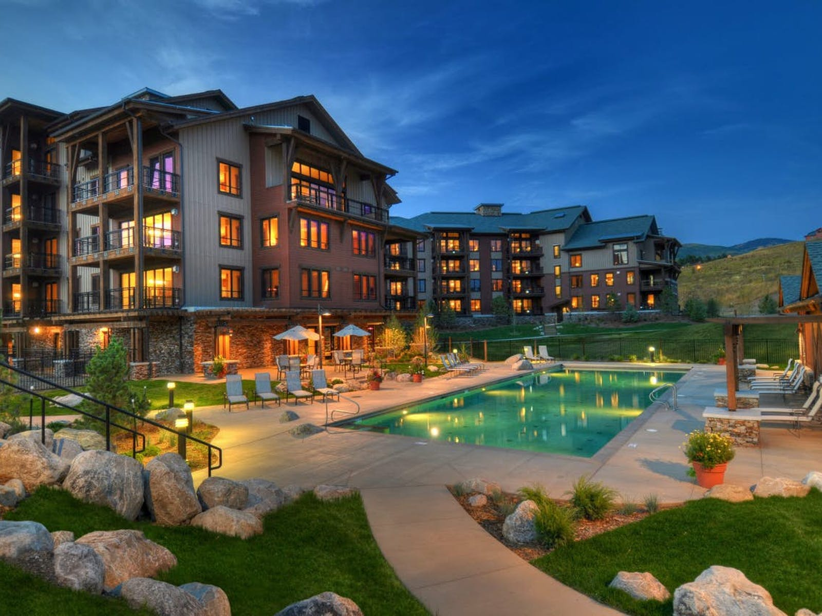 outdoor pool at a hotel in steamboat springs, co
