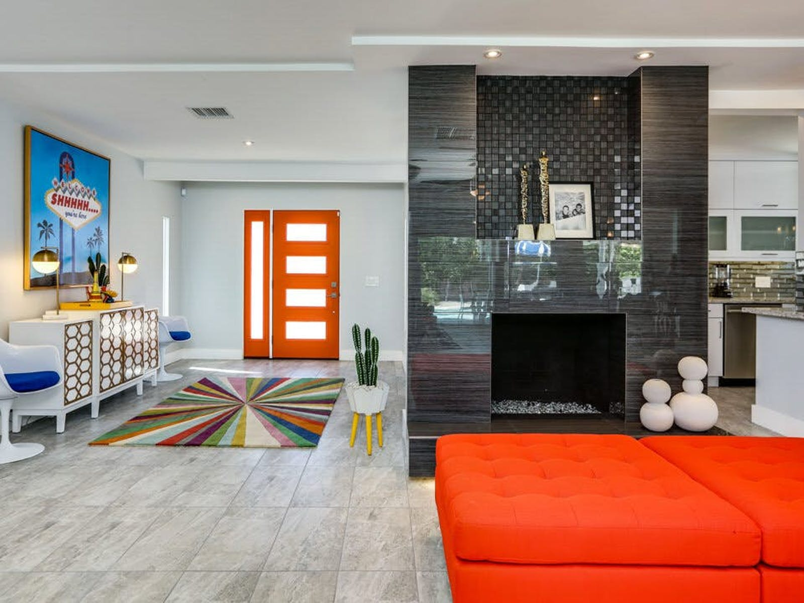 modern gas fireplace inside of Palm Springs vacation home