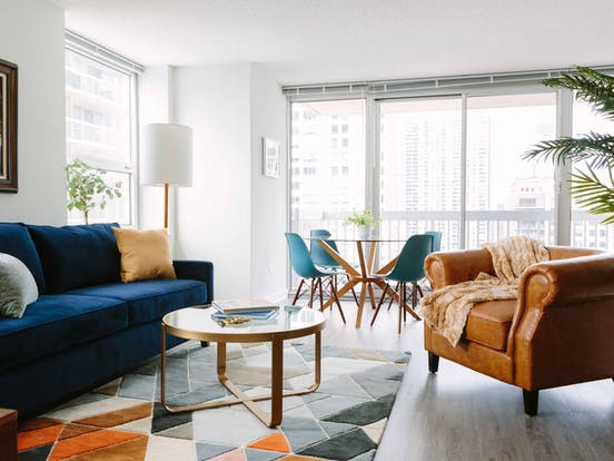 interior living room decorations in a modern condo