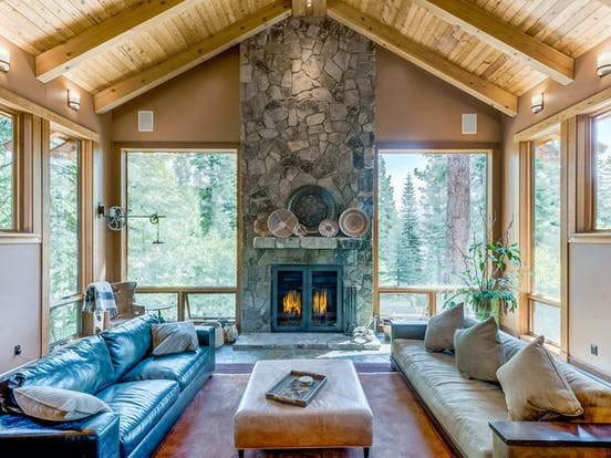 large stone fireplace of Truckee, CA cabin rental