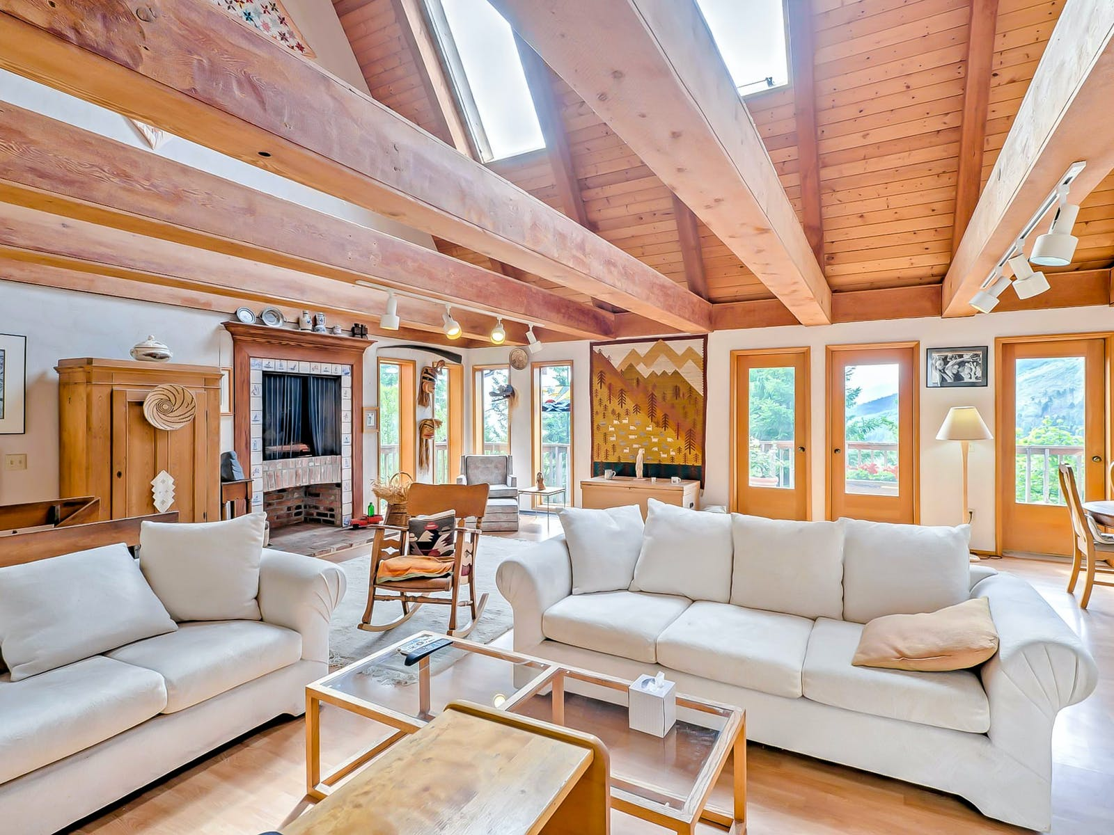 beautiful wood beams across a ceiling inside port angeles vacation home
