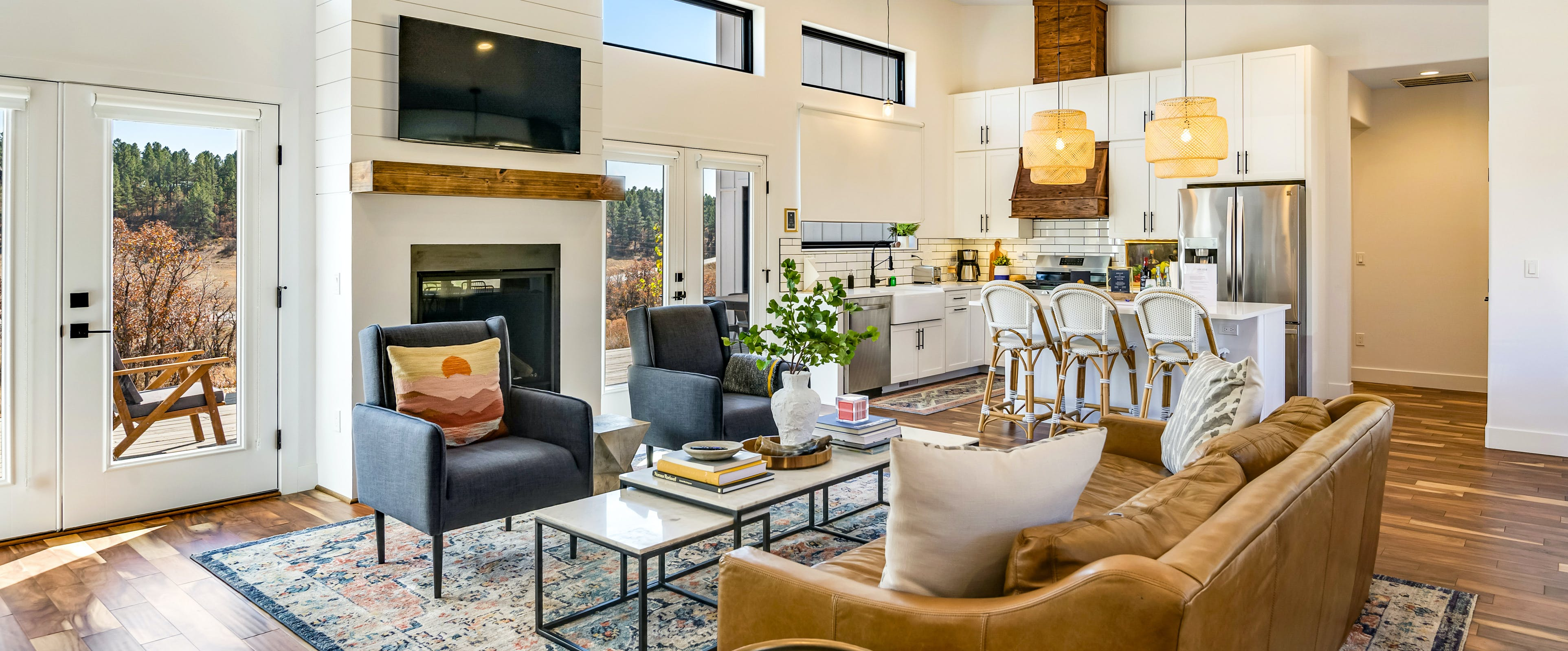 open layout living space and kitchen of pagosa springs, co vacation home