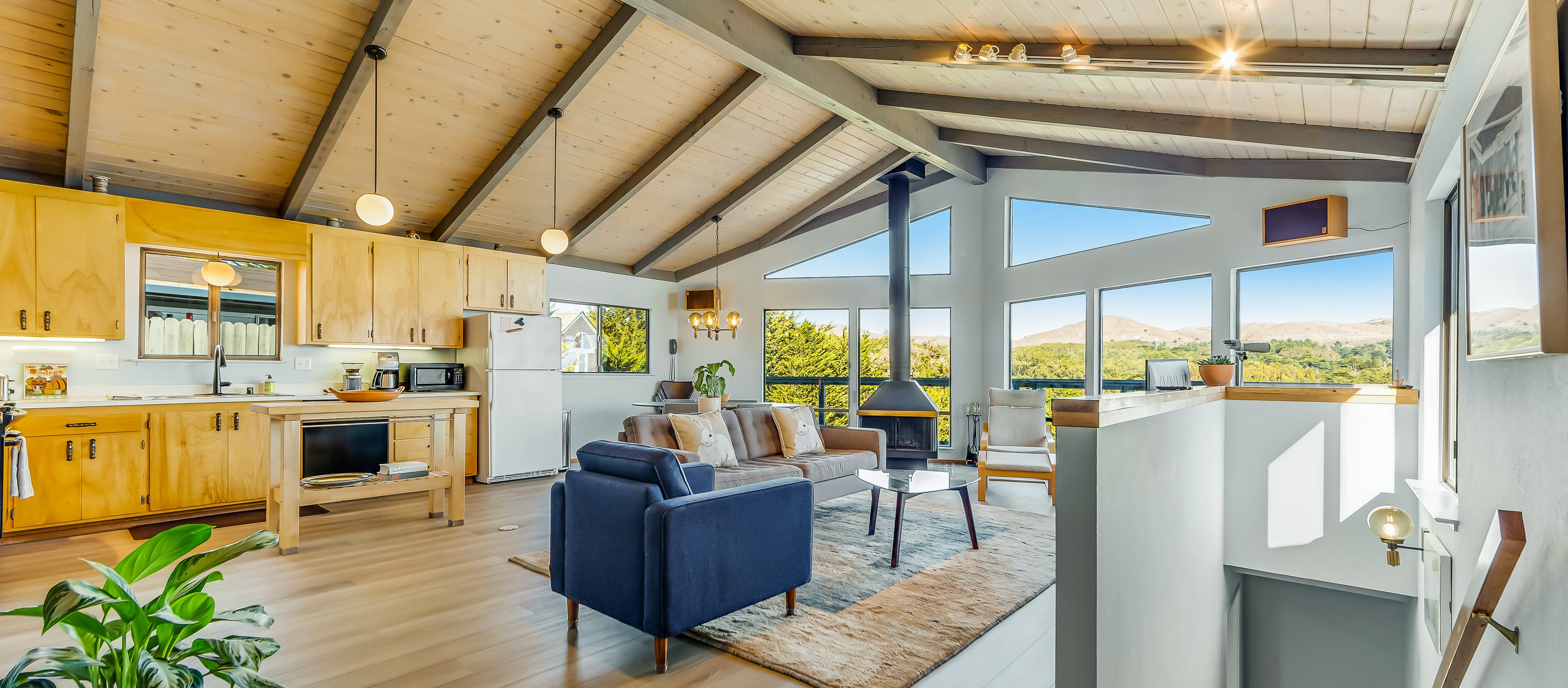 open layout living space of bodega bay, ca vacation home