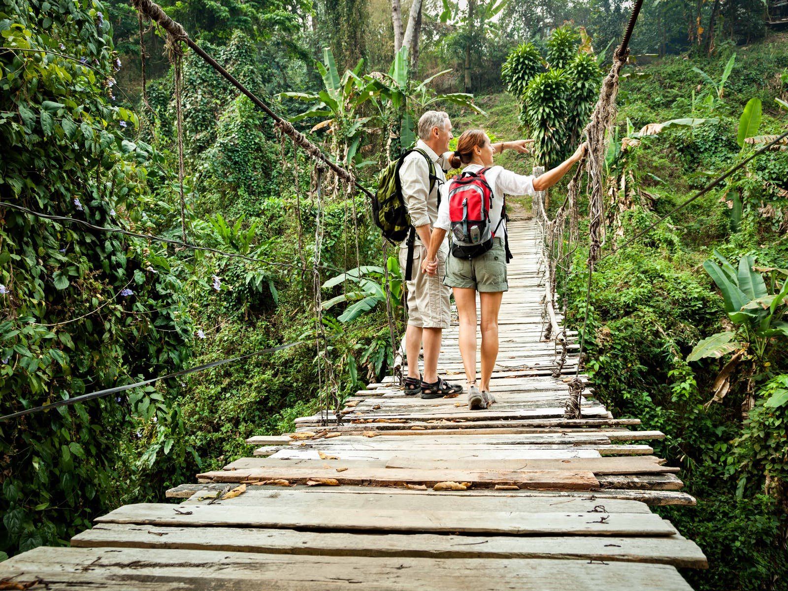 two hikers on a bridge in the jungle