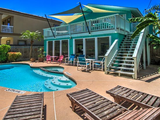 Outdoor pool in sunny South Padre