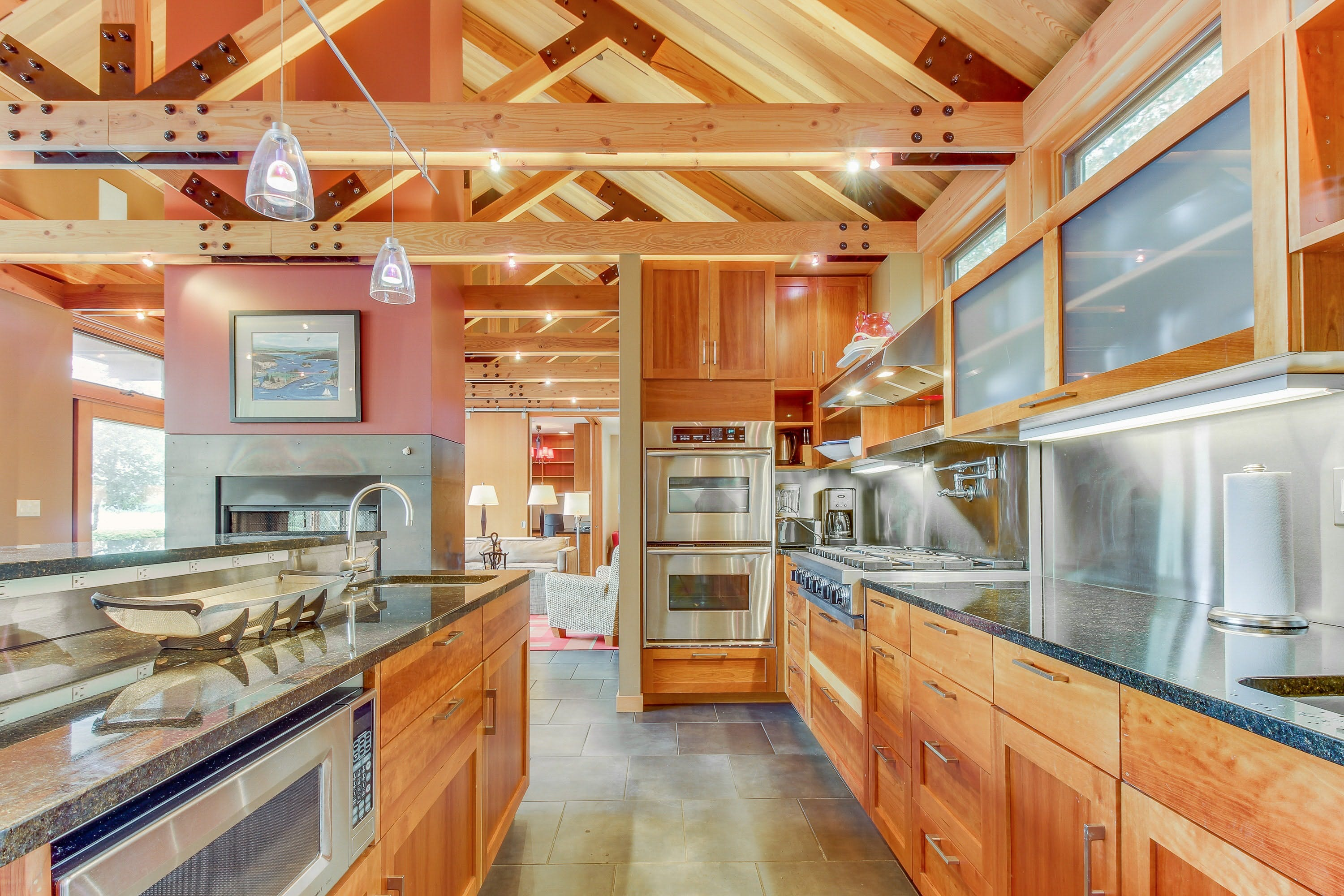 large kitchen with double oven inside vacation home in Anacortes, WA