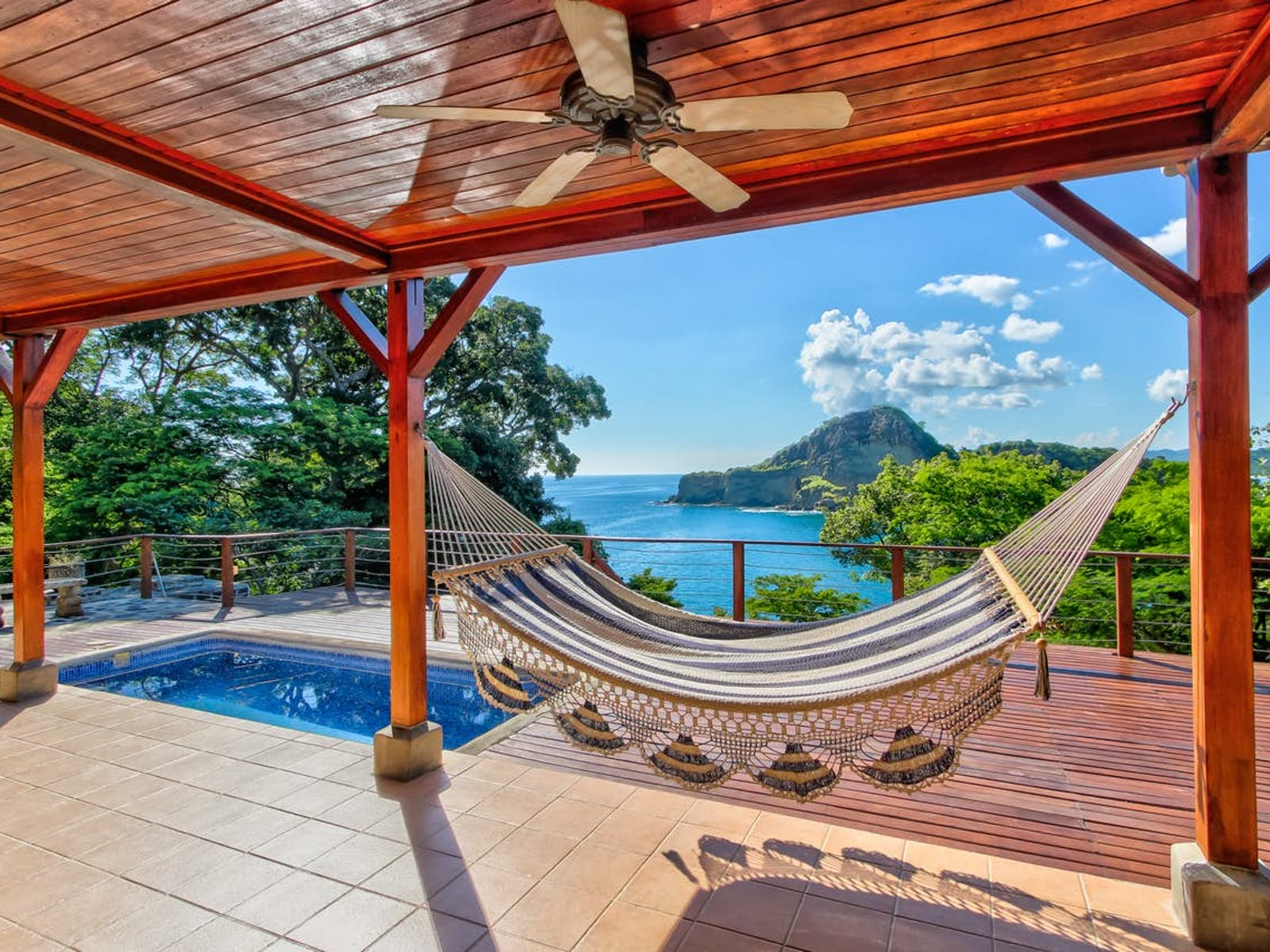 Nicaragua oceanfront vacation rental with a pool and a hammock for lounging