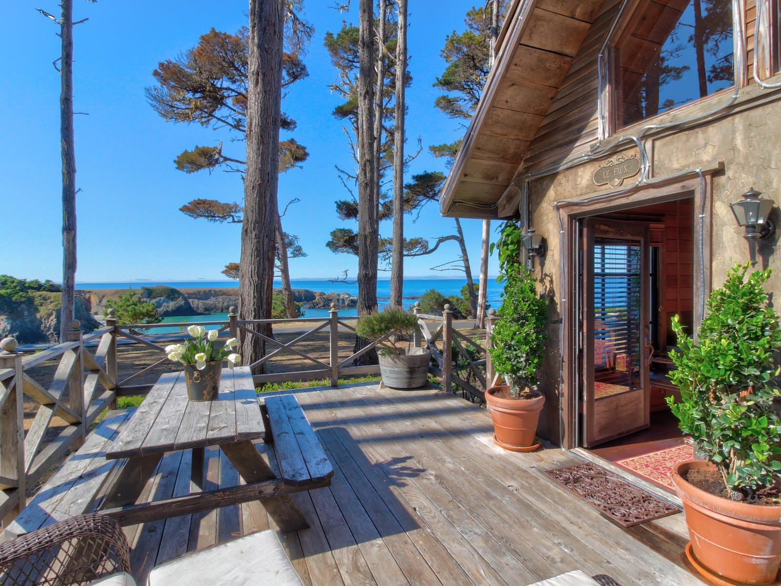 deck overlooking ocean in Fort Bragg, CA