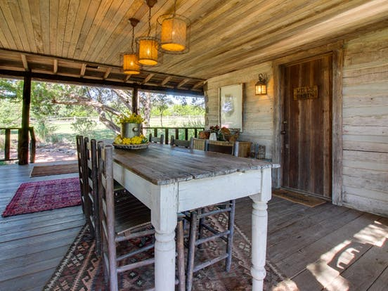 log cabin deck with table