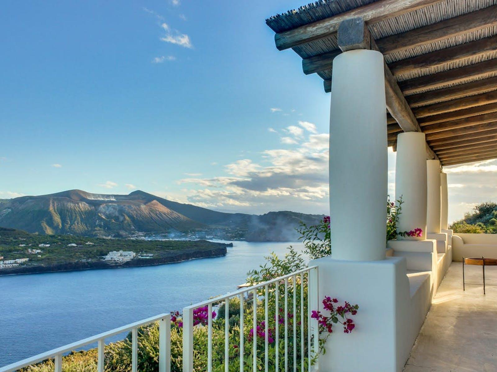 view of Tyrrhenian Sea from waterfront vacation villa on the island of Lipari