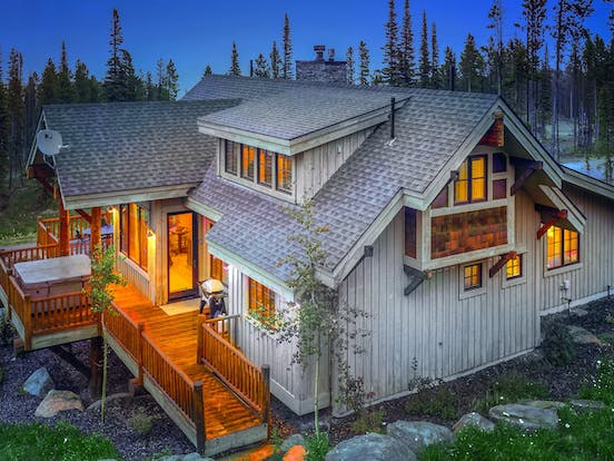 large big sky, mt vacation home with outdoor hot tub on deck