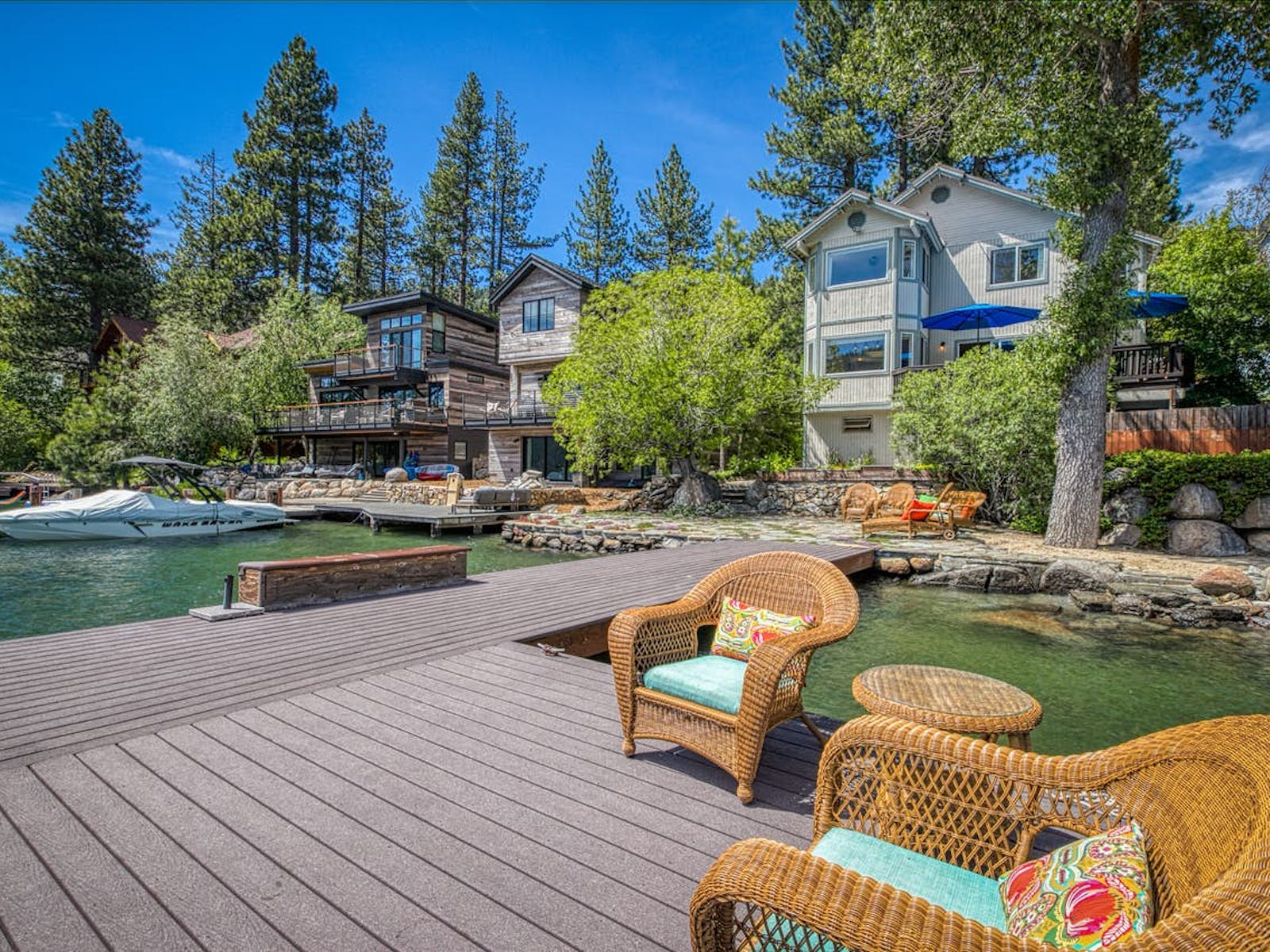 donner lake vacation home with private dock and ample outdoor seating