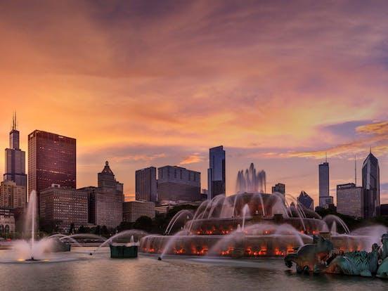 sunset over chicago