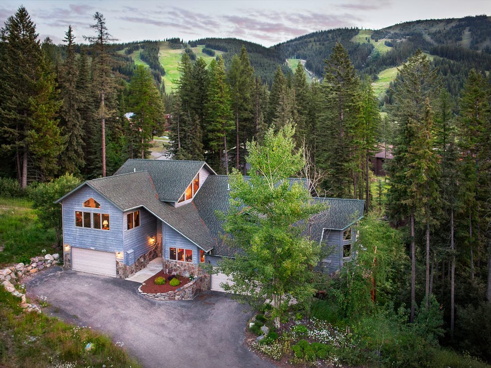 Aerial view of large vacation home in Whitefish, MT