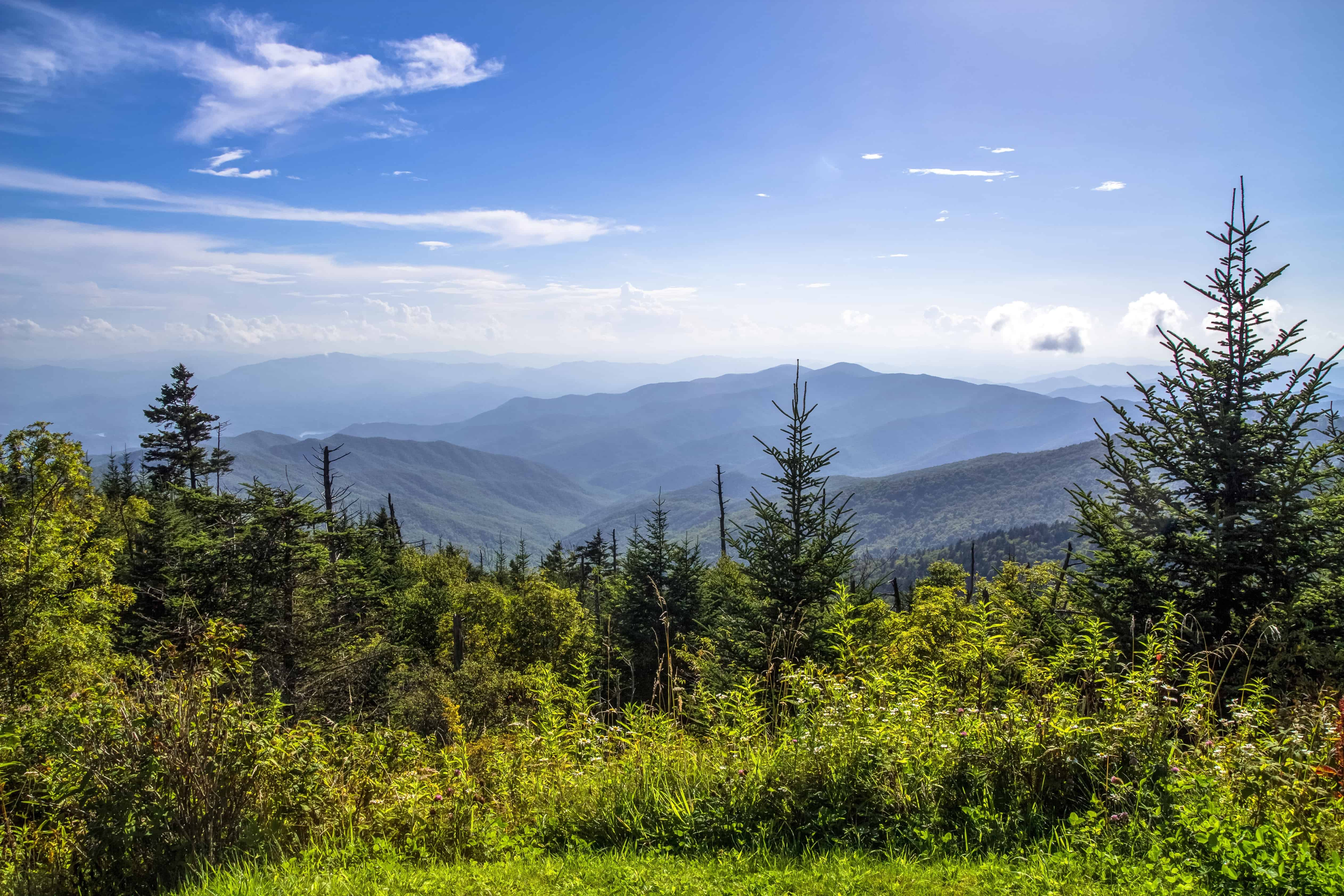 the great smoky mountains on a blue, sunny day