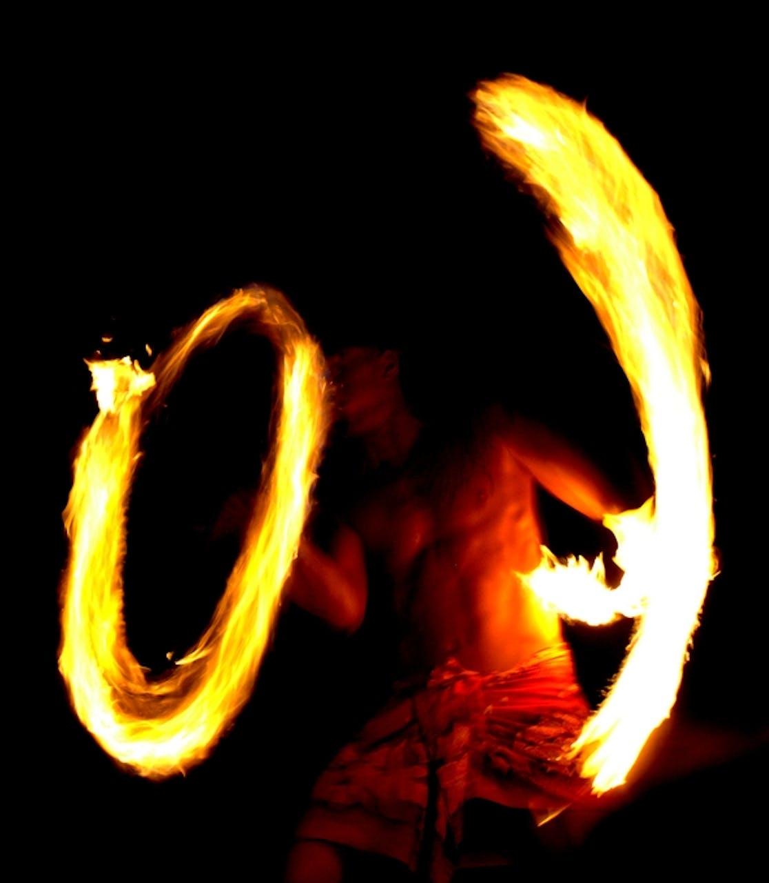 Big Island Luau Fire dancer. image courtesy of Joel Telling