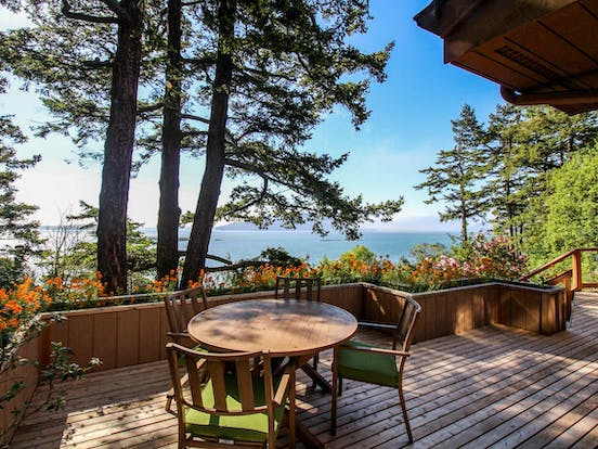 Back deck with water view from San Juan Island vacation rental