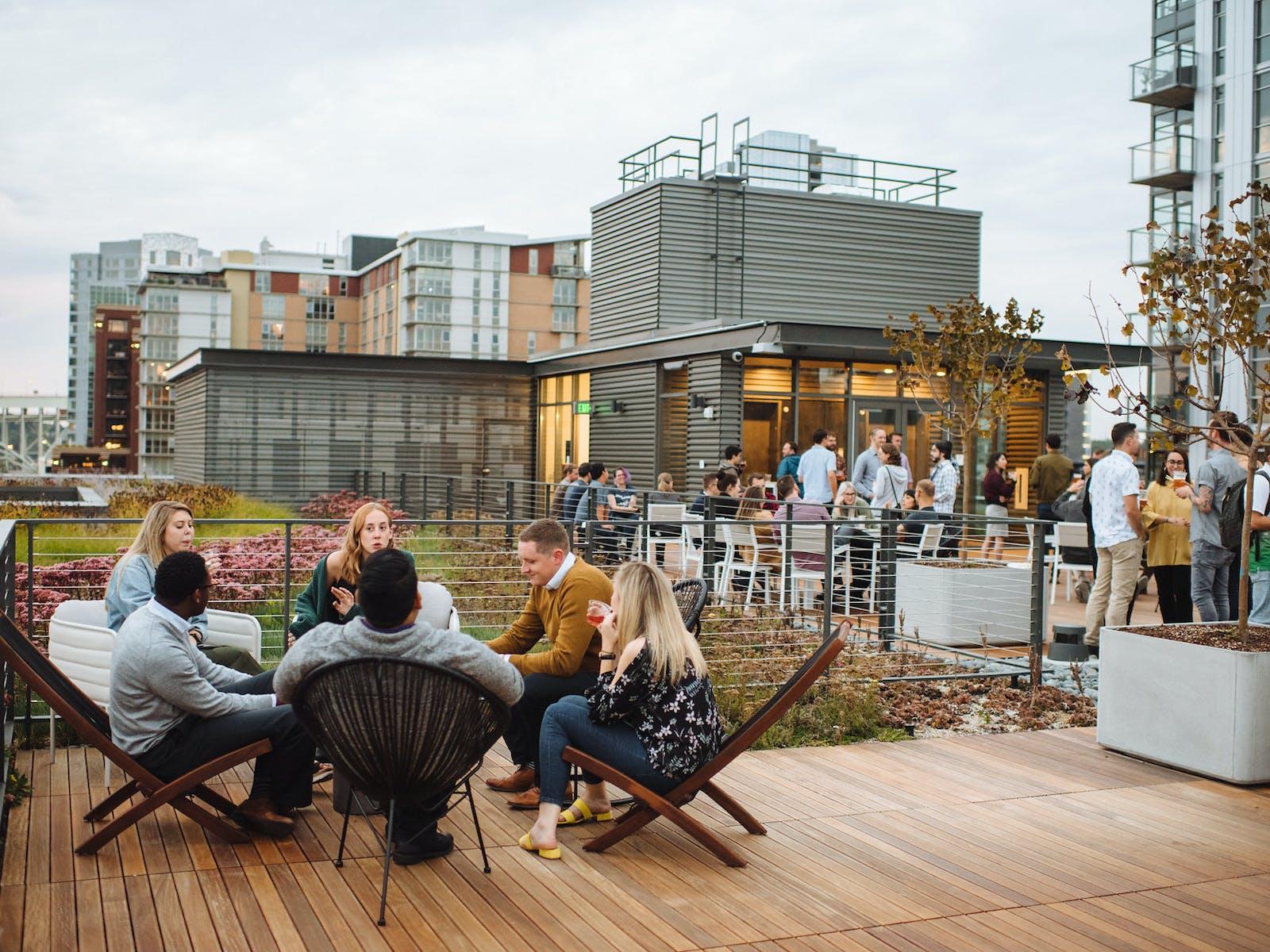 Vacasa Heartline building Open House event on rooftop