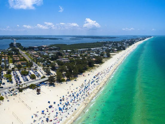 Aerial view of Anna Maria Island and coastline