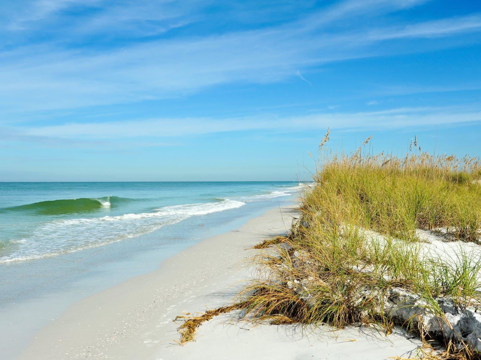 waves washing up on the beach in Anna Maria Island, Florida