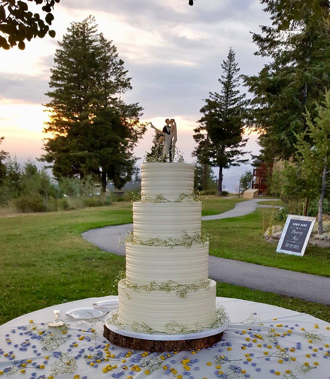 Wedding cake for a Bogus Basin wedding