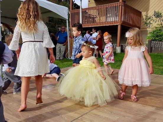 Children dance during a Bogus Basin wedding